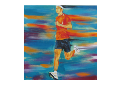 """Sortie d'énergie 1, 2014, acrylique sur toile, 46 x 46 cm (18"""" x 18"""")"""