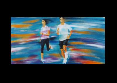 """Sortie d'énergie 2, 2014, acrylique sur toile, 46 x 91 cm (18"""" x 36"""")"""