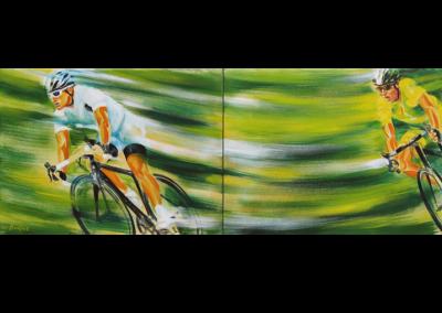 """Poursuite musclée, 2014, acrylique sur toile, diptyque, 46 x 122 cm (18"""" x 48"""")"""
